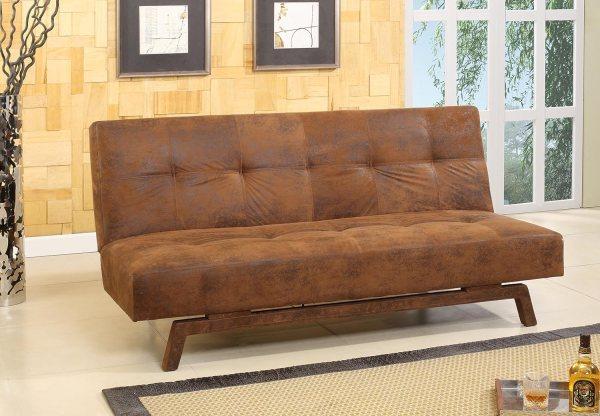 Rustic Brown Fabric With Adjustable Klik Klak Sofa Futon Bed Sleeper