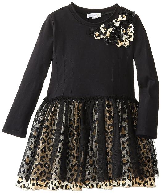 Petit Lem Little Girls' Animalicious Long Sleeve Knit Dress, Black, 7