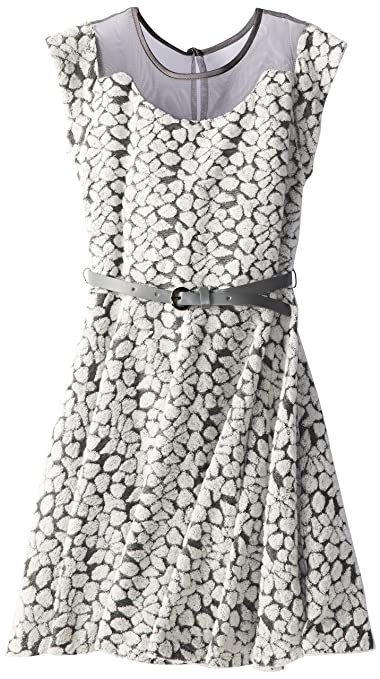 Pippa & Julie Big Girls' Animal Printed Dress with Illusion Top, Black/Grey, 7