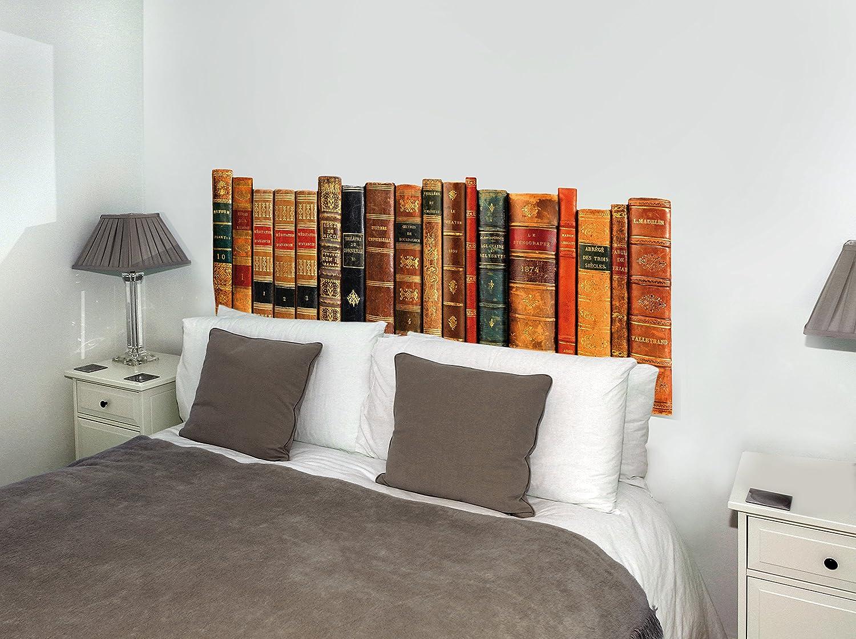 Cabecero de cama de vinilo adhesivo que imita lomos de libros antiguos