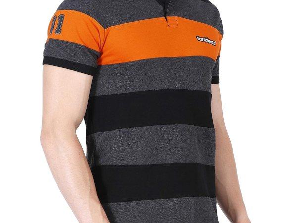 Fanideaz Men's Half Sleeve Royal Striped Polo T-Shirt With No.1 Applique