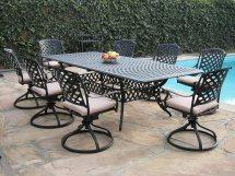 Cast Aluminum Patio Furniture 9 Pc Extension Dining Table