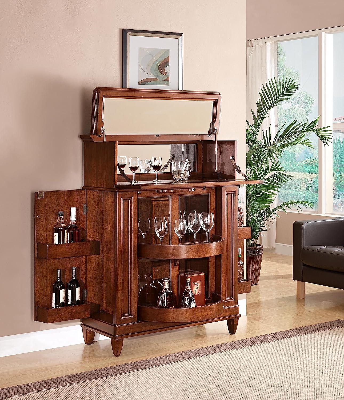 Wood Home Dining Room Bar Cabinet Furniture Bottle Stemware Storage Glass door  eBay