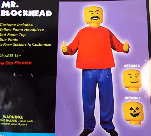 Mr. Blockhead Red Blue Adult Costume OSFM NIP