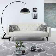 Leather Sleeper Sofa With Nailheads Kivik Review Modern Tufted Bonded Futon Nailhead White