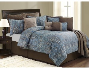 Brown And Blue Paisley Bedding