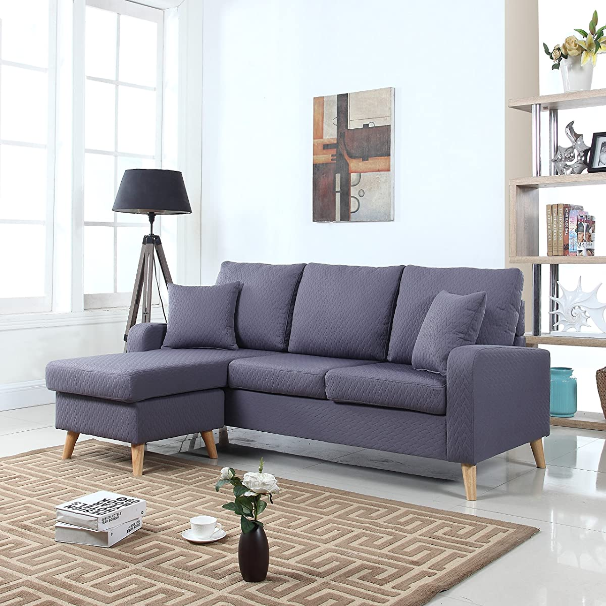small grey sofa next how to clean my set mid century modern linen fabric space sectional