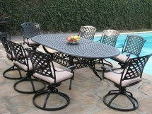 Aluminum Garden Furniture 9 Pc Extension Oval Dining Table