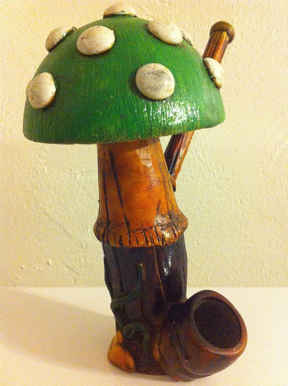 Handmade Tobacco Pipe, Big Green Mushroom Design