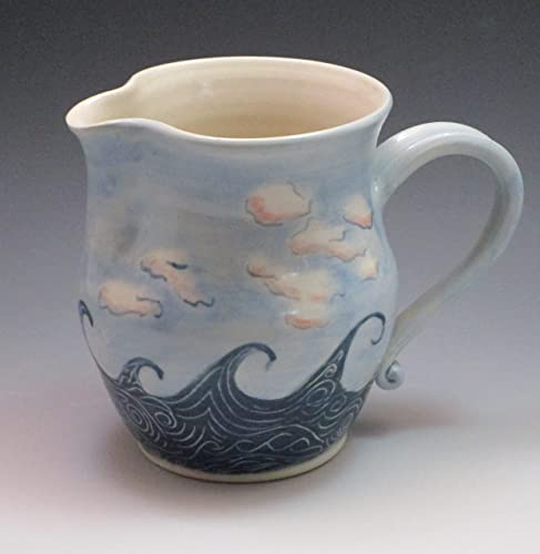 Porcelain pitcher, hand thrown and hand painted in wave pattern