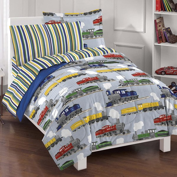 Dream Factory Trains Ultra Soft Microfiber Boys Comforter Set Blue Twin