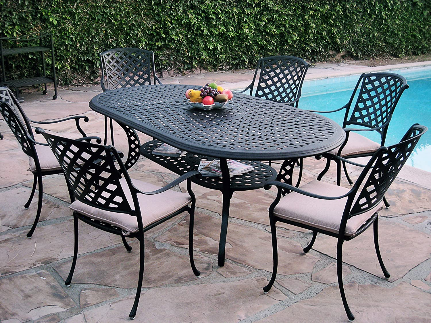 Aluminum Lawn Chairs 7 Piece Outdoor Patio Furniture Cast Aluminum Dining Set