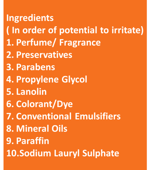 List of Ingredients that could Irritate in skincare product