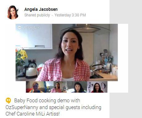 Caroline Mili Artiss cooks during OzSupernanny Hangout Eczema Baby Fish