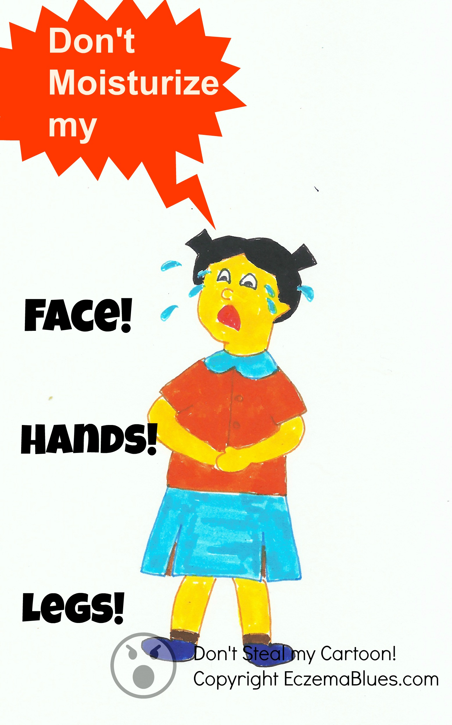 Eczema cartoon from child with eczema's point of view