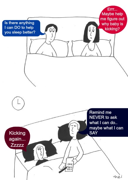 Pregnancy Baby Kicking Tracker Cartoon Husbands to Think before You Offer Help!