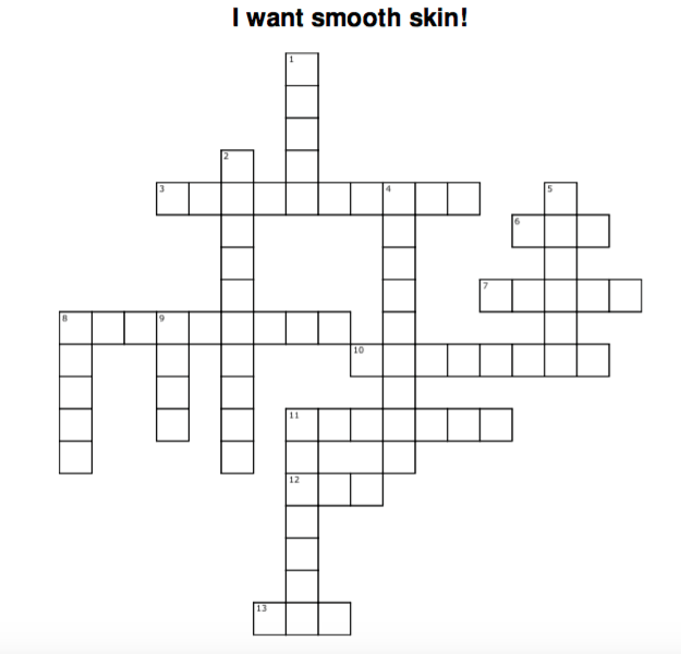 Crossword Puzzle for Eczema Kids - Learning about Skin