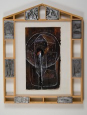 """Elba Damast, """"Estudio 2216,"""" 1991 Custom frame, acrylic and ink on paper. 72cm x 56cm Collection of the family"""