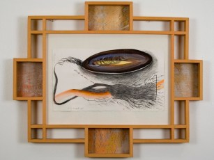 "Elba Damast, ""Estudio 1011,"" 1991 Custom frame, acrylic and ink on paper.81/2"" x 13"" Collection of the family"