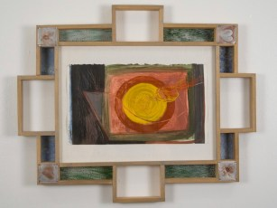 "Elba Damast, ""Estudio 201,"" 1991 Custom frame, acrylic and ink on paper.81/2"" x 13"" Collection of the family"
