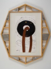 "Elba Damast, ""Estudio 69,"" 1991 Custom frame, acrylic and ink on paper.67cm X 57cm Collection of the family"