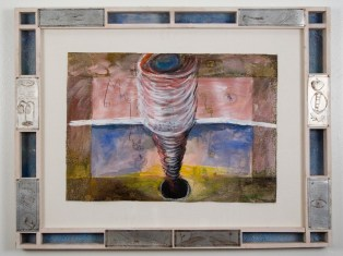 "Elba Damast, ""Landscape Going,"" 1991 Custom frame, acrylic and ink on paper.59cm X 76cm In collection of the family"