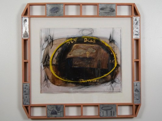 "Elba Damast, ""365 Dias 2,""1991 Custom frame, acrylic and ink on paper.72cm X 74cm Collection of the family"