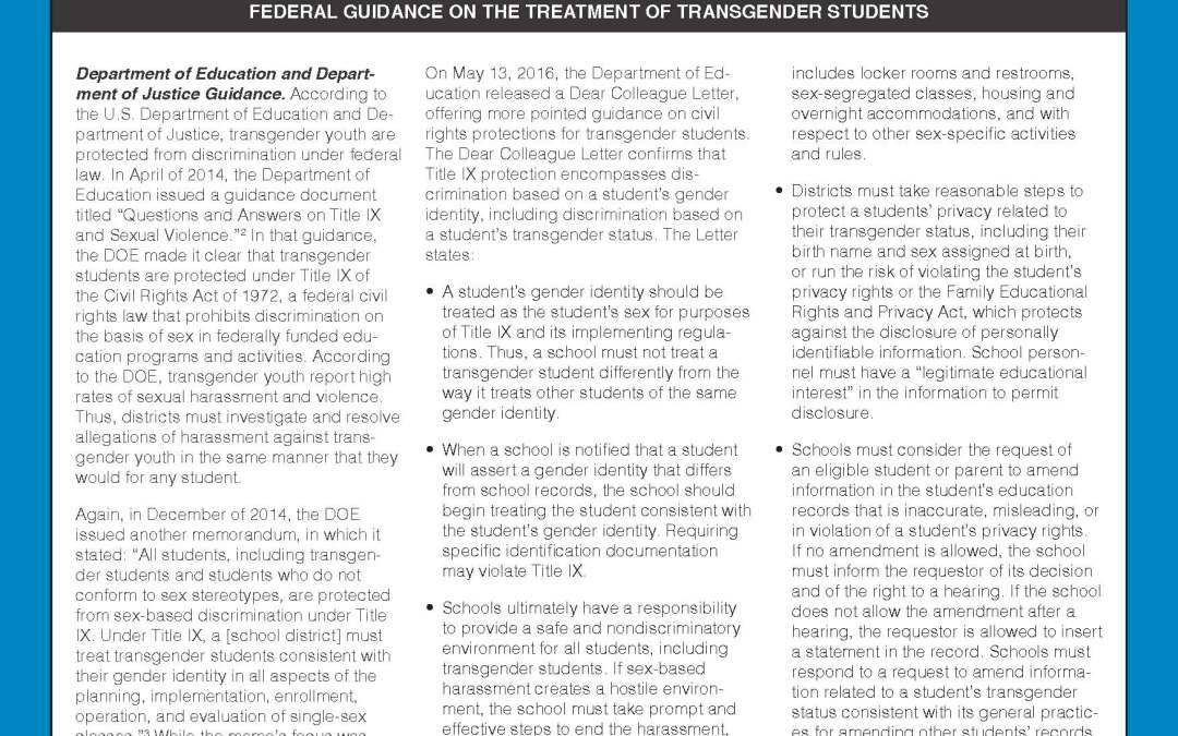 Transgender Students & Employees on Your Campus Guide