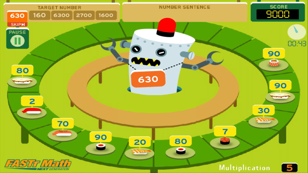 sushi monster math game