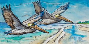 Pelicans Off Beach