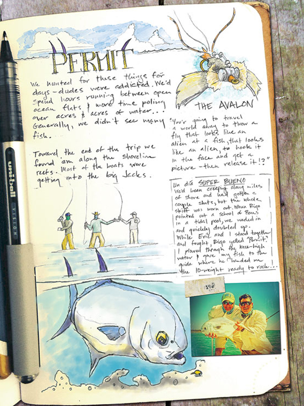 artists sketch book Permit fishing Cuba