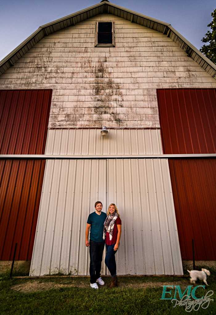 Ashley and Bobby pose near a barn in Bloomington, Illinois.