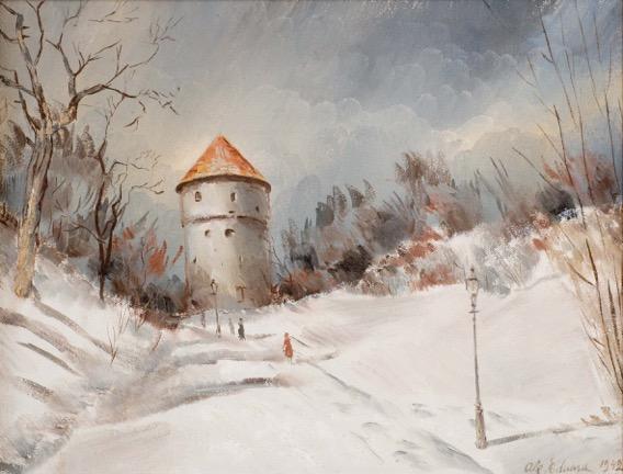 Eduard Ole. Talvine Harjumägi. 1942. Õli, lõuend.