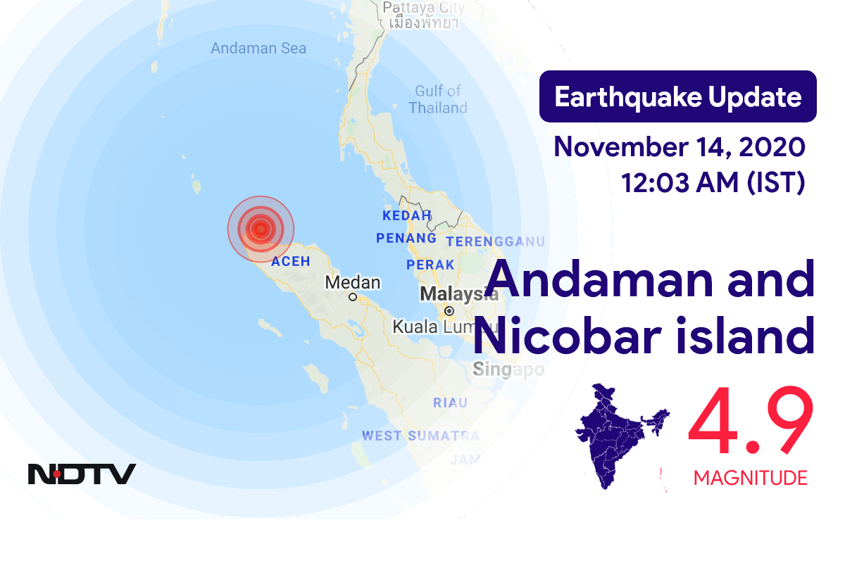 4.9 Magnitude Earthquake Strikes In Andaman And Nicobar Island