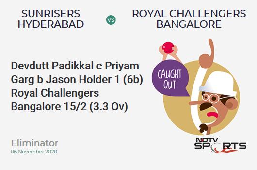 SRH vs RCB: Eliminator: WICKET! Devdutt Padikkal c Priyam Garg b Jason Holder 1 (6b, 0x4, 0x6). Royal Challengers Bangalore 15/2 (3.3 Ov). CRR: 4.28