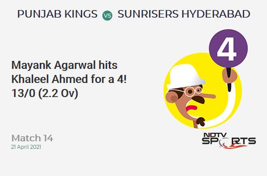 PBKS बनाम SRH: मैच 14: मयंक अग्रवाल ने 4 के लिए खलील अहमद को मारा! PBKS 13/0 (2.2 ओव)। CRR: 5.57