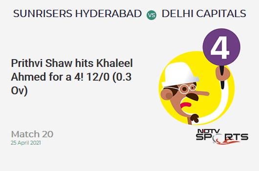 SRH vs DC: Match 20: Prithvi Shaw hits Khaleel Ahmed for a 4! DC 12/0 (0.3 Ov). CRR: 24