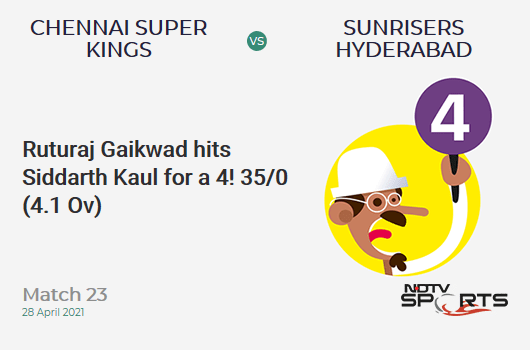 CSK vs SRH: Match 23: Ruturaj Gaikwad hits Siddarth Kaul for a 4! CSK 35/0 (4.1 Ov). Target: 172; RRR: 8.65