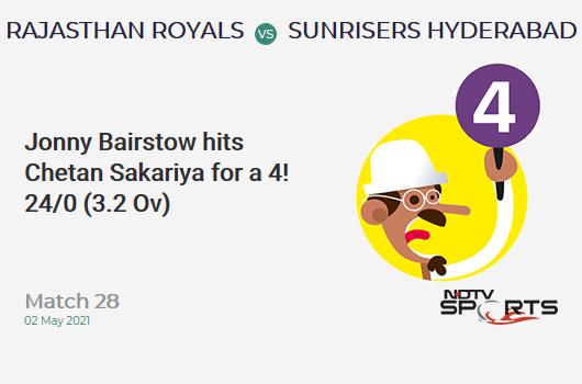 RR vs SRH: Match 28: Jonny Bairstow hits Chetan Sakariya for a 4! SRH 24/0 (3.2 Ov). Target: 221; RRR: 11.82
