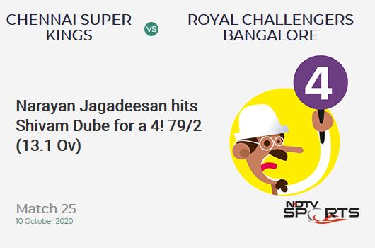 CSK vs RCB: Match 25: Narayan Jagadeesan hits Shivam Dube for a 4! Chennai Super Kings 79/2 (13.1 Ov). Target: 170; RRR: 13.32