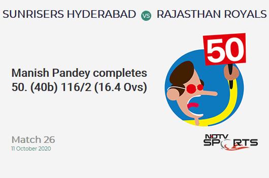 SRH vs RR: Match 26: FIFTY! Manish Pandey completes 50 (40b, 2x4, 3x6). Sunrisers Hyderabad 116/2 (16.4 Ovs). CRR: 6.96