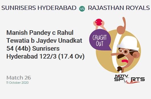 SRH vs RR: Match 26: WICKET! Manish Pandey c Rahul Tewatia b Jaydev Unadkat 54 (44b, 2x4, 3x6). Sunrisers Hyderabad 122/3 (17.4 Ov). CRR: 6.90