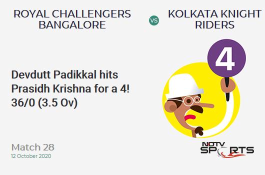 RCB vs KKR: Match 28: Devdutt Padikkal hits Prasidh Krishna for a 4! Royal Challengers Bangalore 36/0 (3.5 Ov). CRR: 9.39