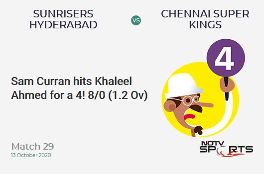 SRH vs CSK: Match 29: Sam Curran hits Khaleel Ahmed for a 4! Chennai Super Kings 8/0 (1.2 Ov). CRR: 6