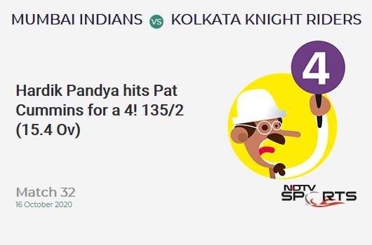 MI vs KKR: Match 32: Hardik Pandya hits Pat Cummins for a 4! Mumbai Indians 135/2 (15.4 Ov). Target: 149; RRR: 3.23