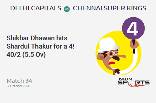 DC vs CSK: Match 34: Shikhar Dhawan hits Shardul Thakur for a 4! Delhi Capitals 40/2 (5.5 Ov). Target: 180; RRR: 9.88
