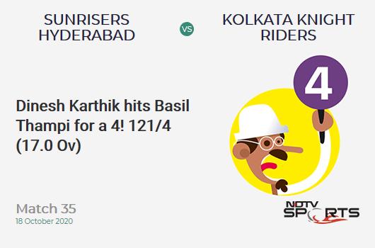 SRH vs KKR: Match 35: Dinesh Karthik hits Basil Thampi for a 4! Kolkata Knight Riders 121/4 (17.0 Ov). CRR: 7.11