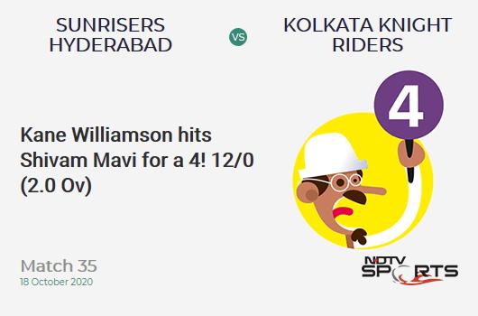 SRH vs KKR: Match 35: Kane Williamson dismissed Shivam Mavi for 4 Sunrisers Hyderabad 12/0 (2.0 ove).  Goal: 164;  RRR: 8.44