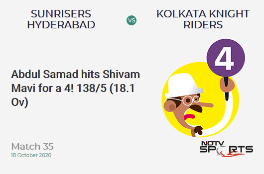 SRH vs KKR: Match 35: Abdul Samad hits Shivam Mavi for a 4! Sunrisers Hyderabad 138/5 (18.1 Ov). Target: 164; RRR: 14.18