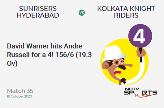 SRH vs KKR: Match 35: David Warner hits Andre Russell for a 4! Sunrisers Hyderabad 156/6 (19.3 Ov). Target: 164; RRR: 16.00